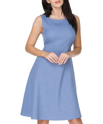 Light blue sleeveless tie dress