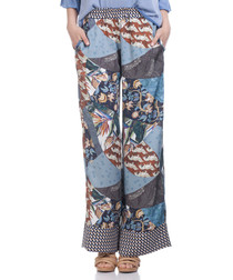 Blue print wide leg trousers