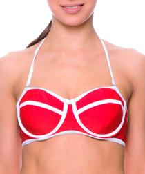 Red & white trim wired bikini top