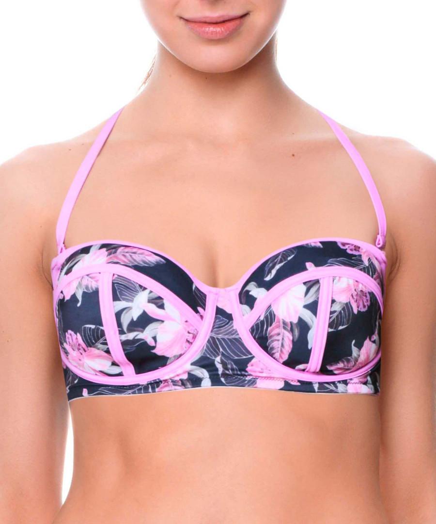 Fernanda black floral bikini top Sale - fleur farfala