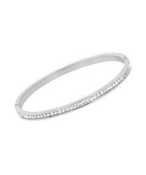 Rhodium-plated crystal bangle