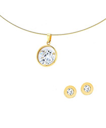 2pc 24ct gold-plated studs & necklace