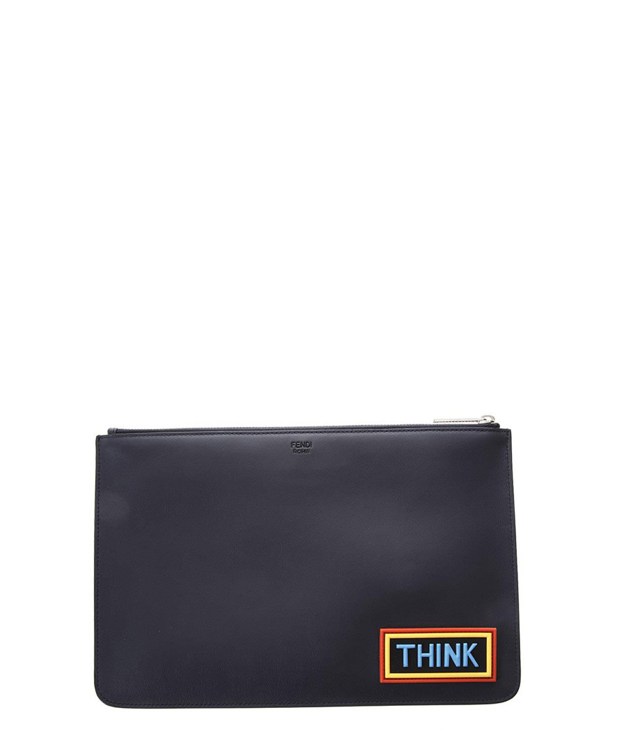 df89d05369 Discount Men's navy blue leather slogan pouch | SECRETSALES