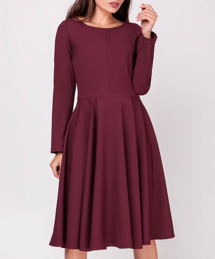 Maroon long sleeve flared dress Sale - NAOKO
