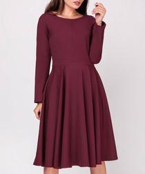 Maroon long sleeve flared dress
