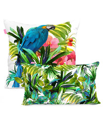2pc Blue Macaw cotton cushion covers