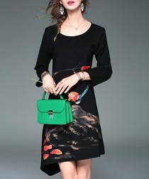 Black print long sleeve dress