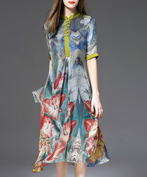 Multi-colour pure silk print midi dress