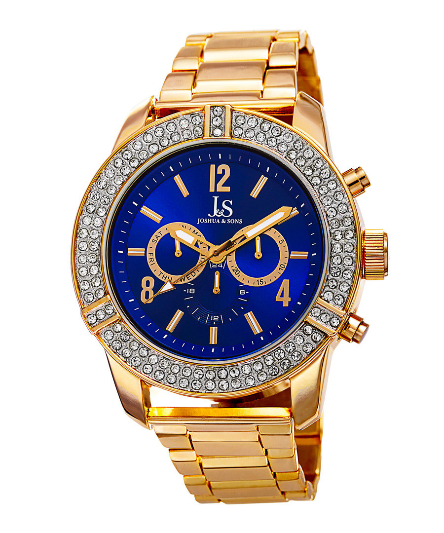 Gold-tone & blue crystal watch Sale - Joshua & Sons