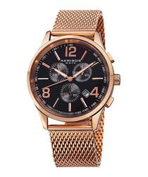 Rose gold-tone steel mesh watch