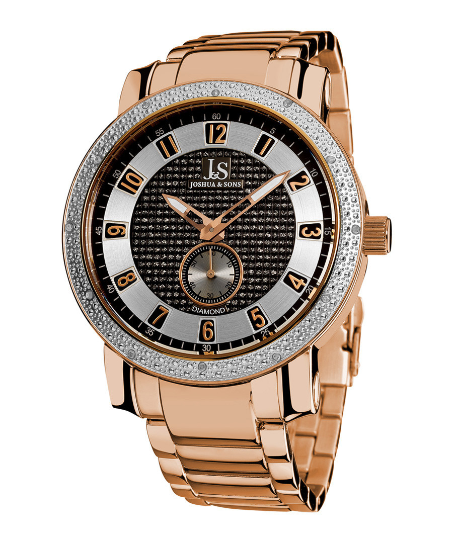 Rose gold-tone crystal watch Sale - Joshua & Sons