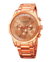 Rose gold-tone steel watch