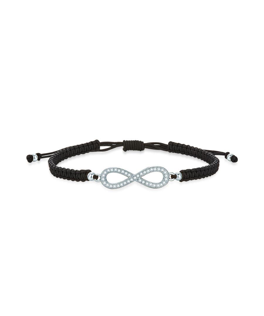 Silver-tone & black infinity bracelet Sale - runway