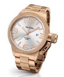 Rose gold-tone link strap watch