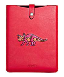 Beast red leather iPad sleeve