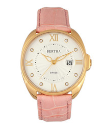 Amelia pink leather moc-croc strap watch