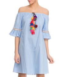 Blue cotton off-the-shoulder dress