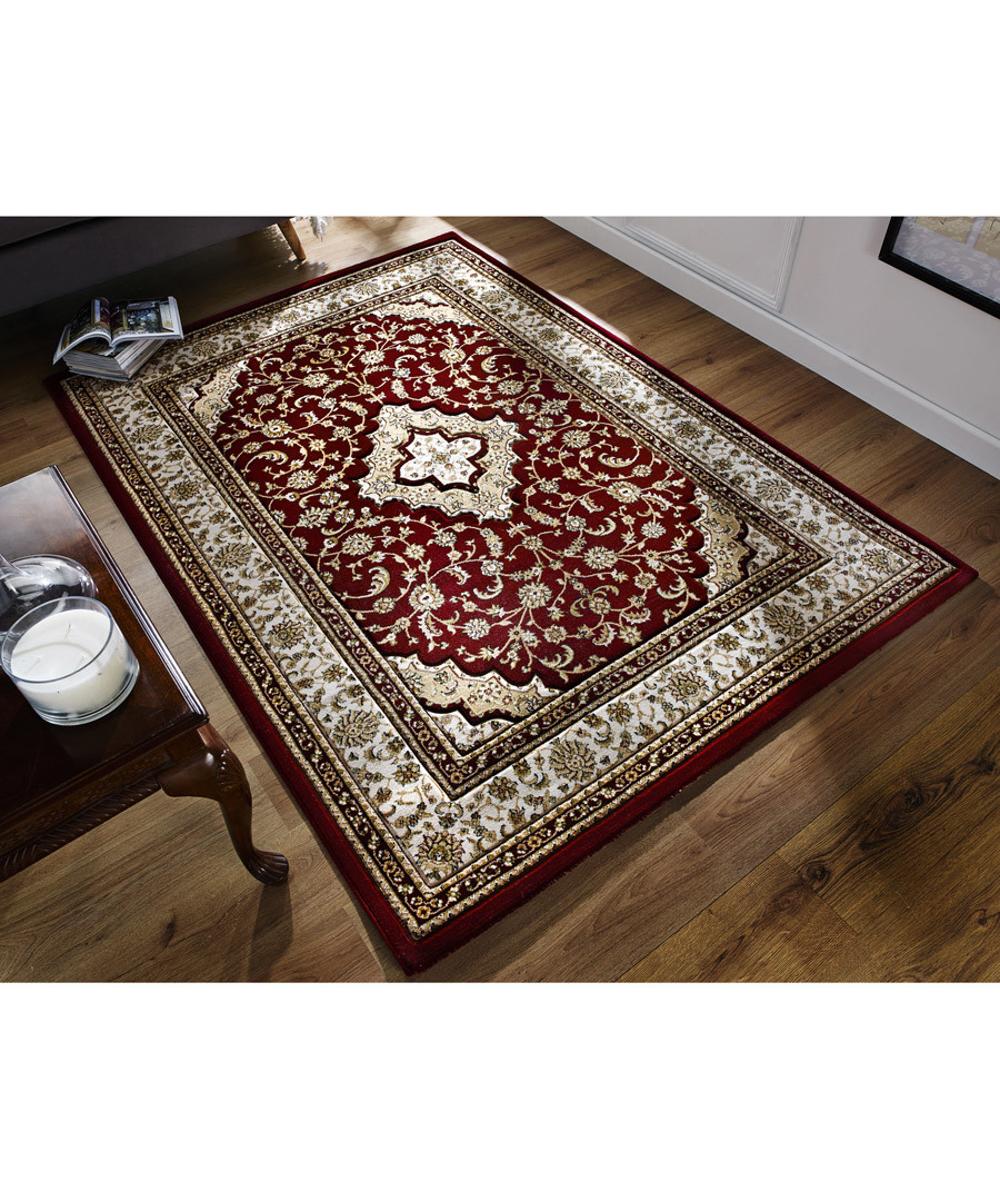 Temple red print rug 120 x 170cm Sale - flair rugs