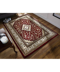 Temple red print rug 80 x 150cm