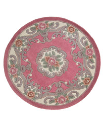 Aubusson pink wool rug 120 x 120cm