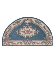 Aubusson blue wool rug 67 x 127cm