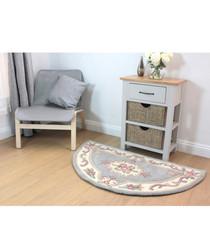 Aubusson grey wool rug 67 x 127cm