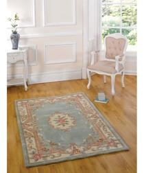 Aubusson green wool rug 150 x 240cm