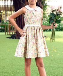 Girl's Hepburn pink cotton floral dress