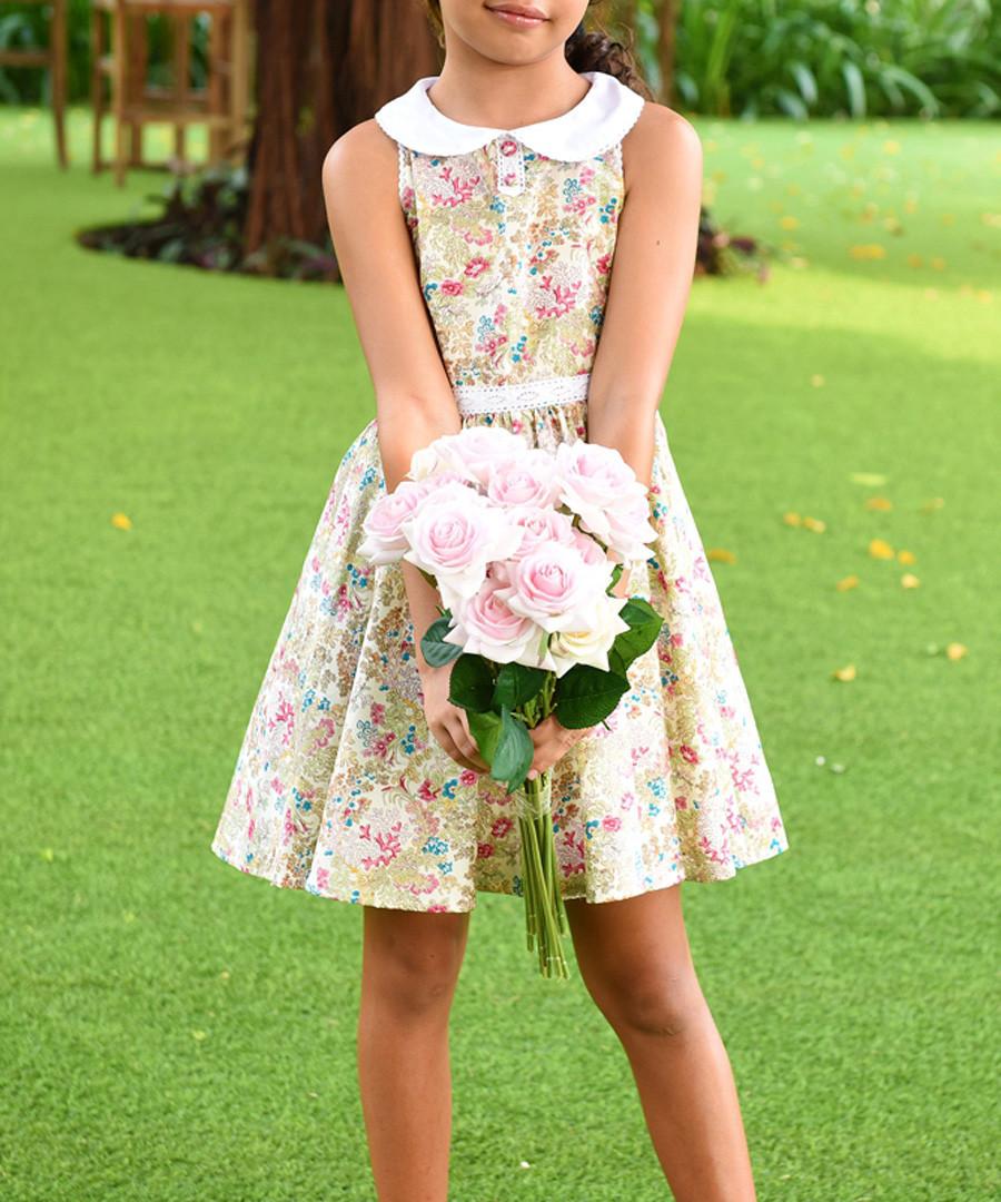 Girl's Hepburn yellow cotton dress Sale - La Faute Voltaire