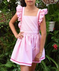 Girls Lili pink cotton stripe dress