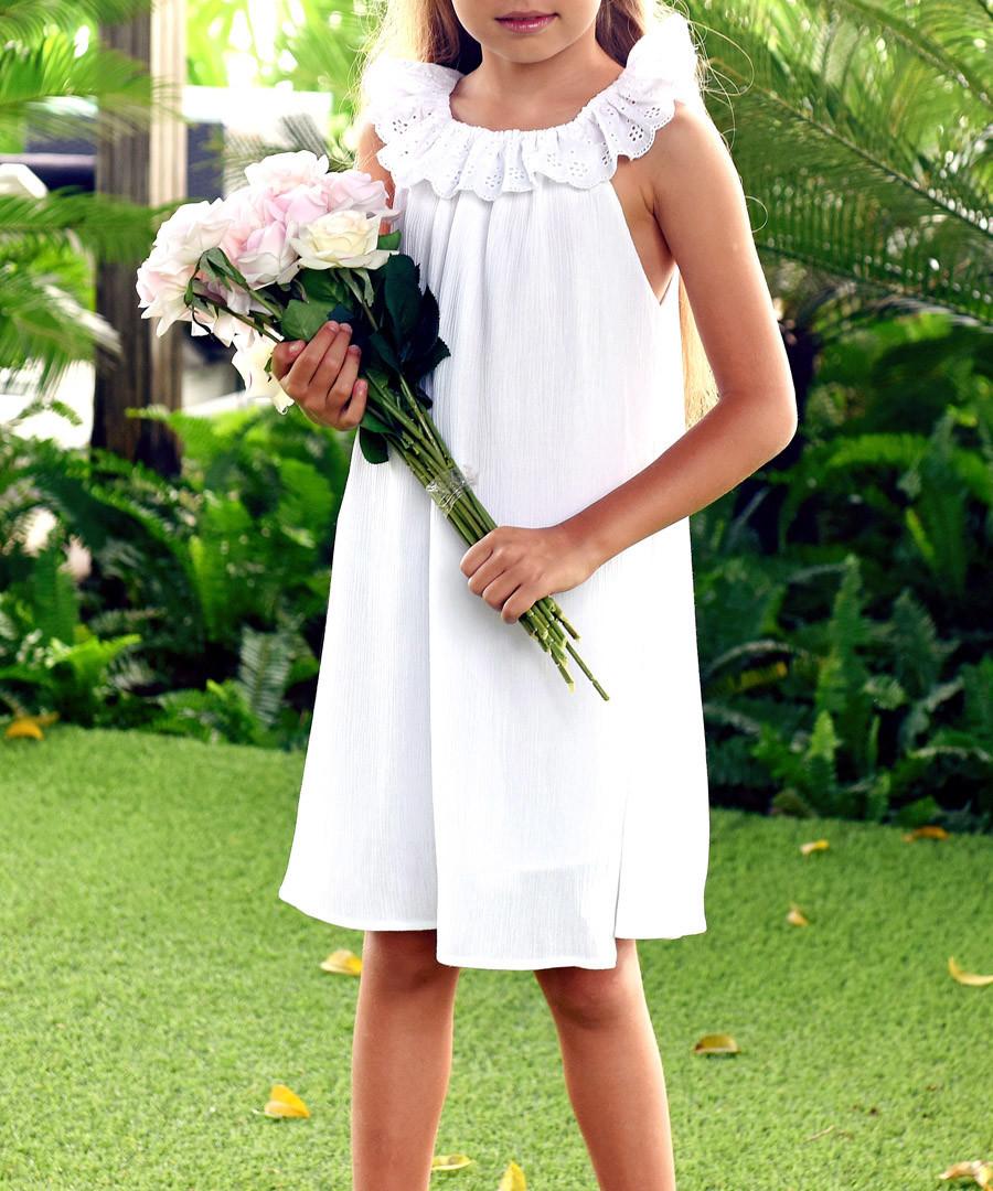 Girl's Aurore white cotton dress Sale - La Faute Voltaire