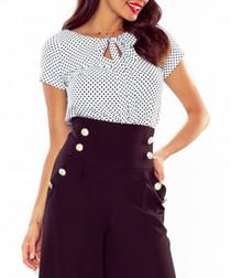 Ecru & navy polka blouse