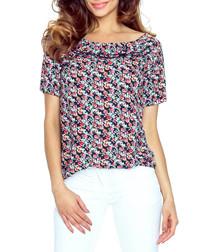 Navy floral print boat neck blouse
