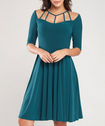 Green flared knee-length dress