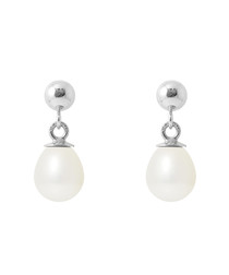 0.6cm white pearl earrings