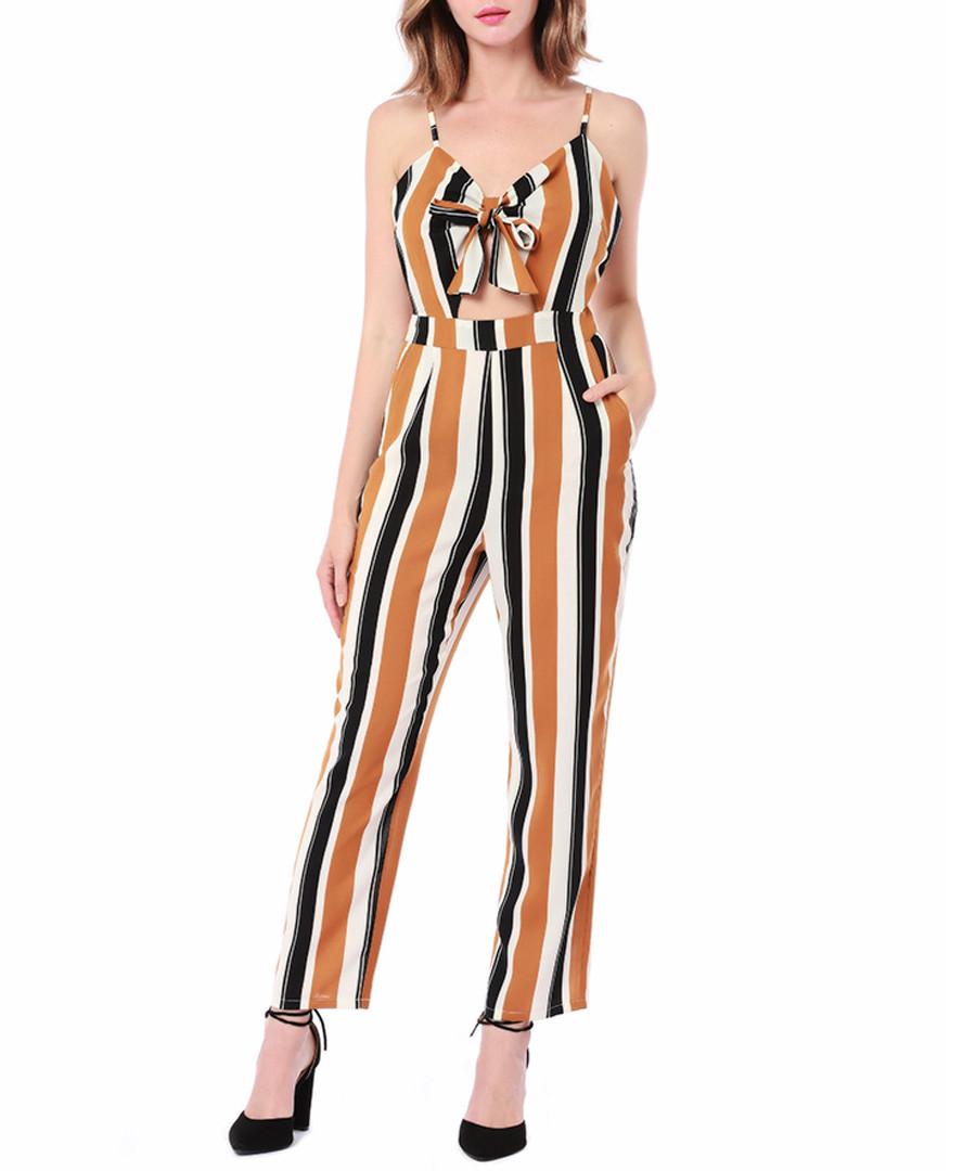 Black & brown stripe crop jumpsuit Sale - Cameson