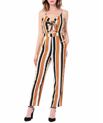 Black & brown stripe crop jumpsuit