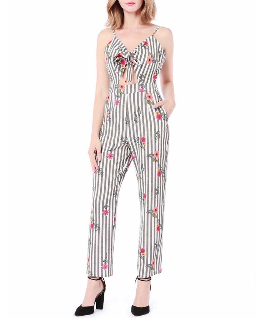 Grey stripe floral crop jumpsuit Sale - Cameson