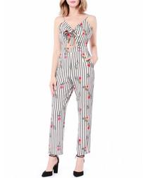 Grey stripe floral crop jumpsuit