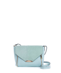 Light blue leather moc-croc cross body
