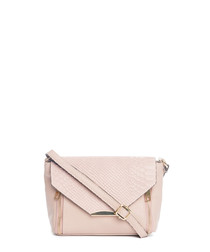 Light pink leather moc-croc cross body