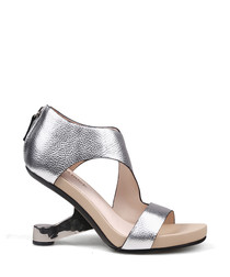 Silver leather strappy gravity heels