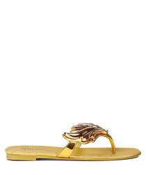 Gold leather wing detail flip flops