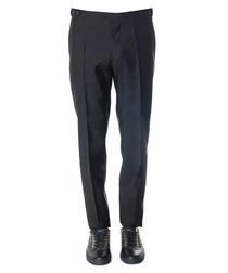 Men's black wool & silk trousers