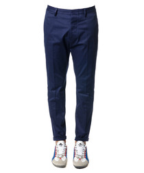 Men's blue pure cotton trousers