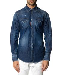 Men's blue cotton worn-effect shirt