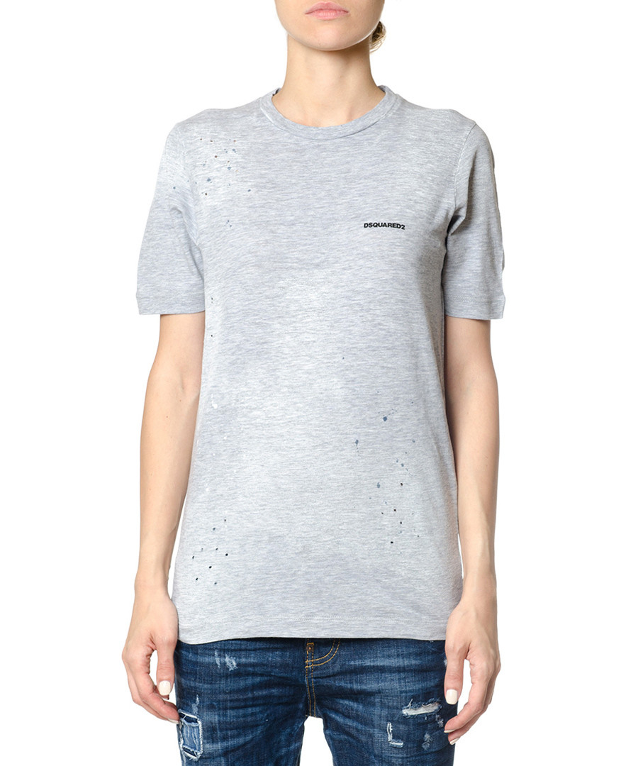 Grey cotton logo T-shirt Sale - dsquared2