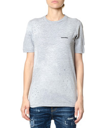 Women's grey cotton logo T-shirt