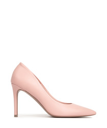 Pink leather pointed heels