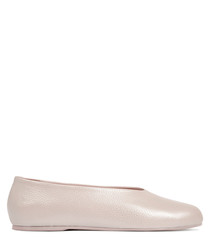 Pink leather round toe ballet flats
